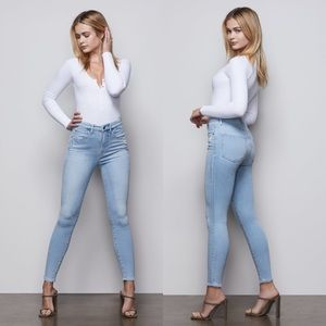 GOOD AMERICAN Jeans Good Waist Crop Light Wash 25
